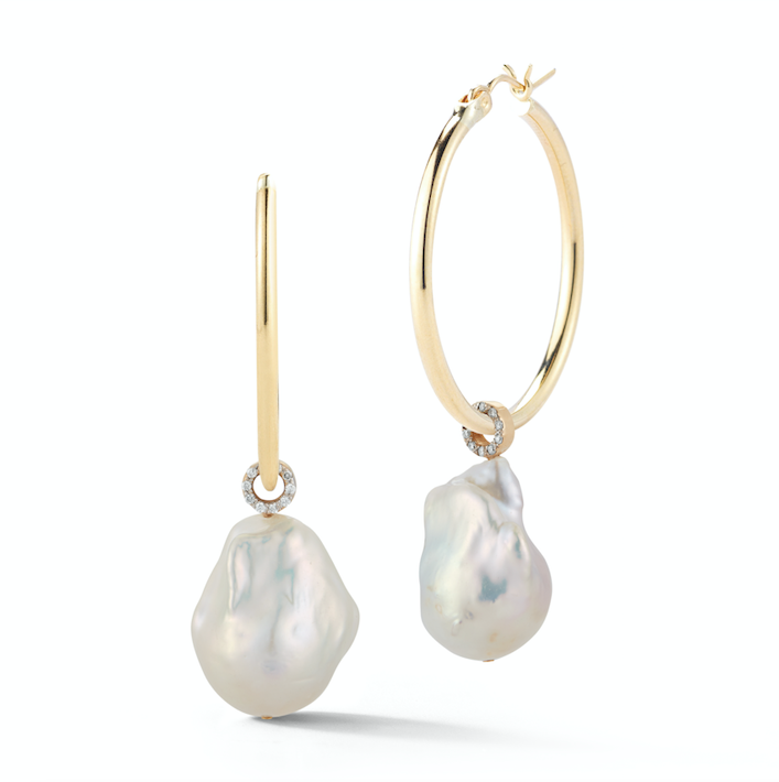 14kt Gold Baroque Pearl Detachable Hoops