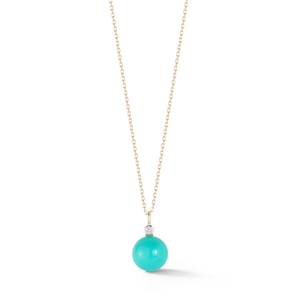 14kt Gold Turquoise and Diamond Dot Necklace