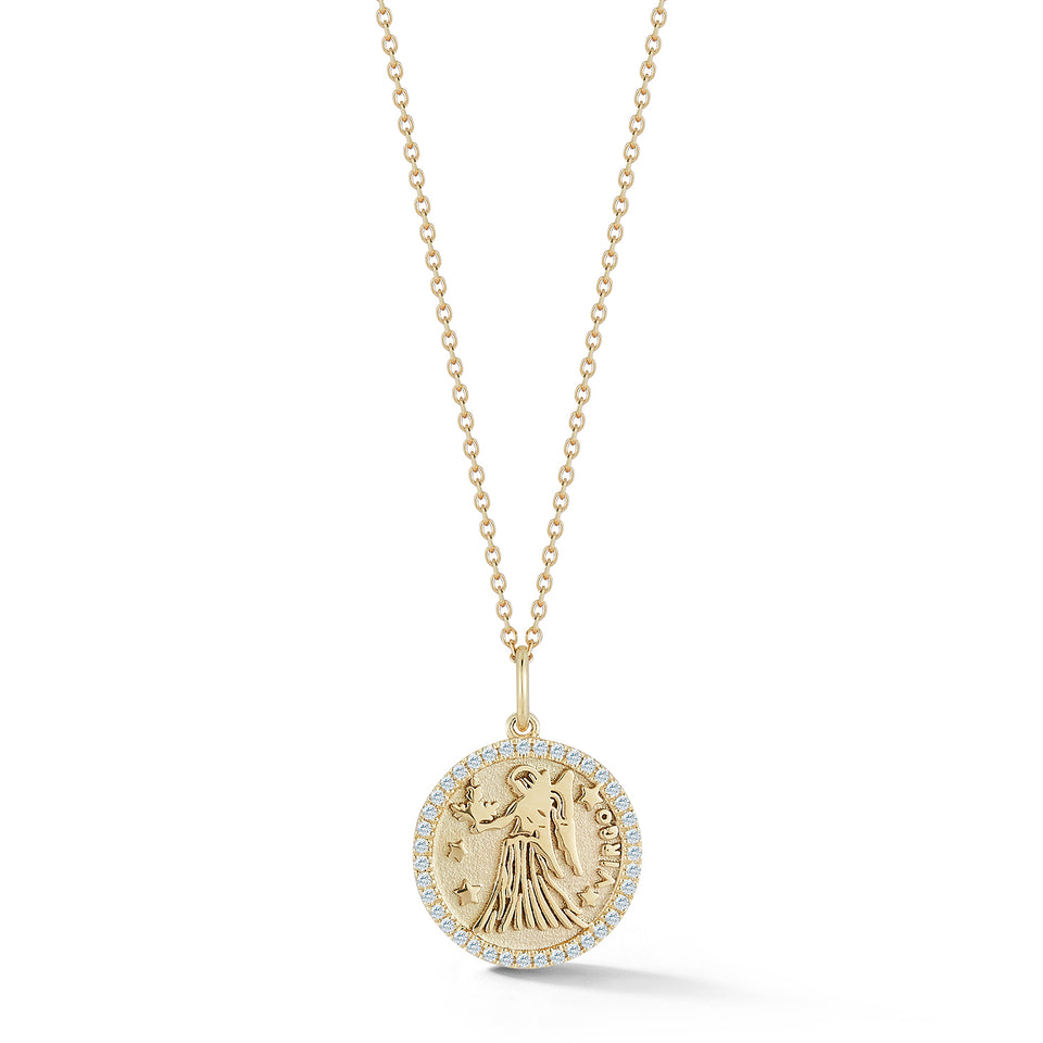 14kt Gold Small Virgo Zodiac Coin