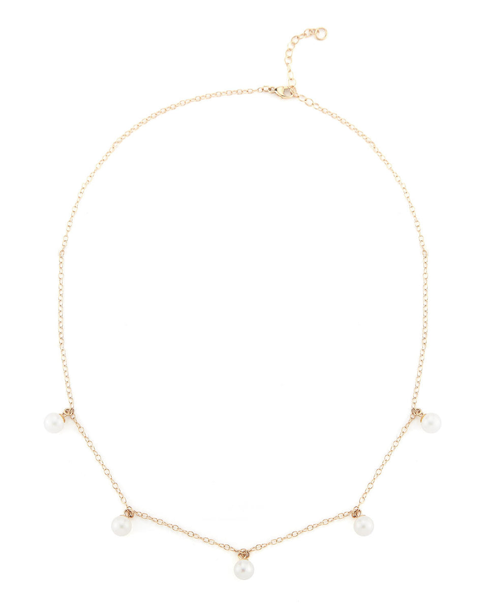 14kt Gold 5 Point Pearl Necklace