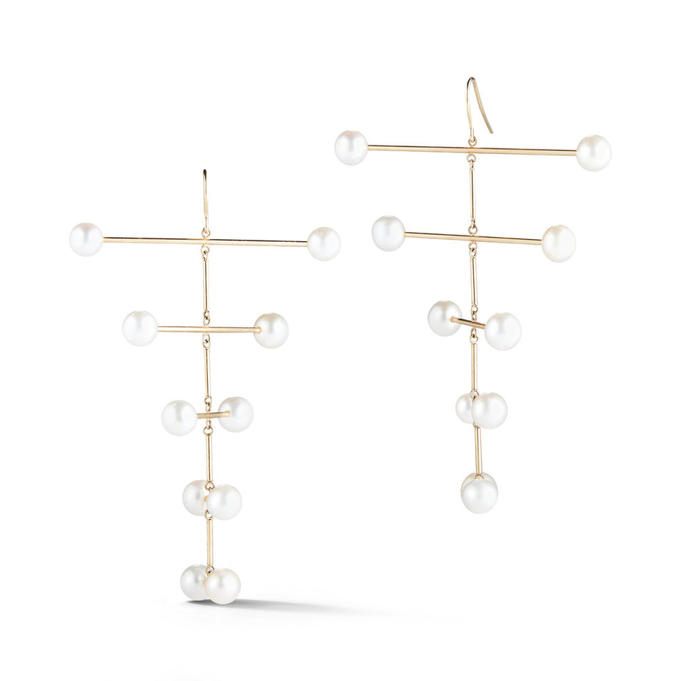 14K Gold Pearl Blizzard Mobile Earring