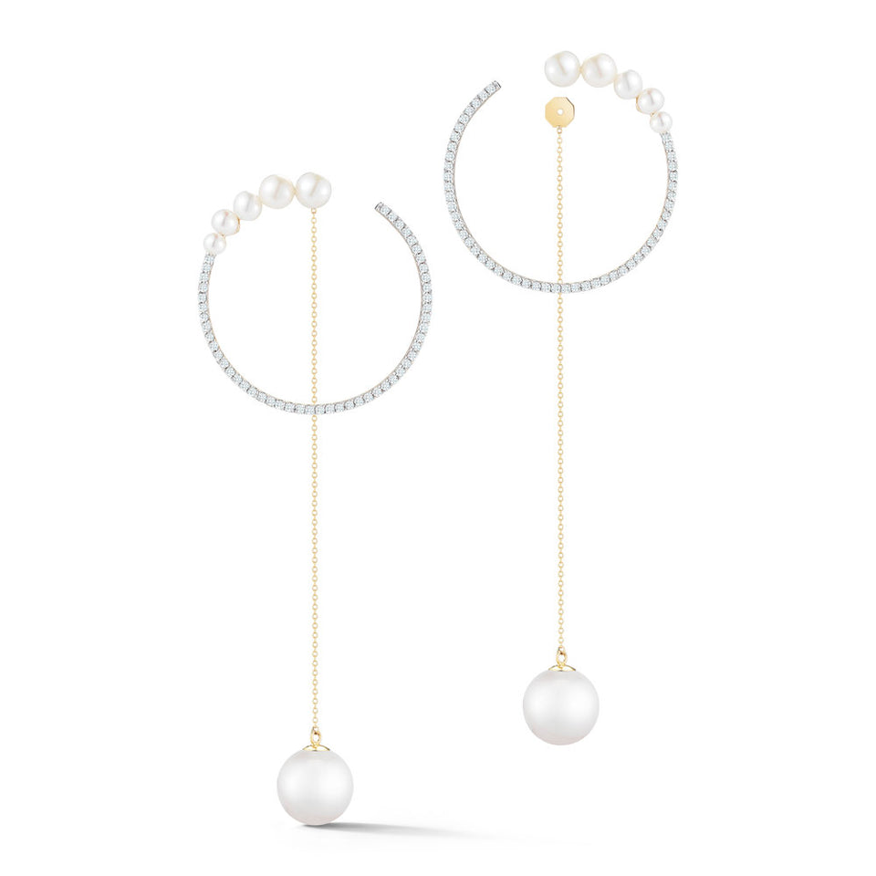 14kt Gold Graduated Pearl Hoop with Pearl Drop earrings