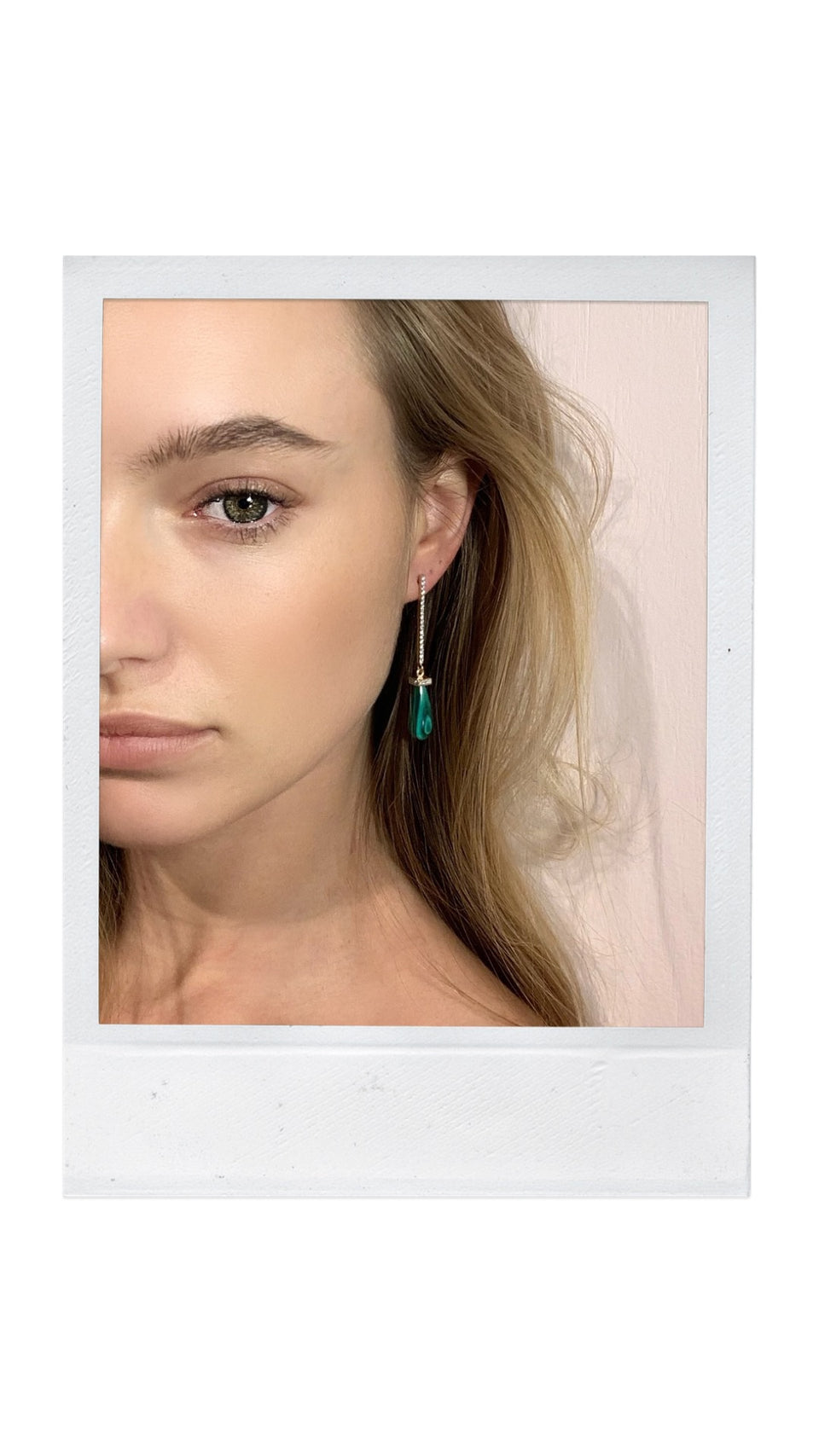 14kt Malachite Drop Bar Earring