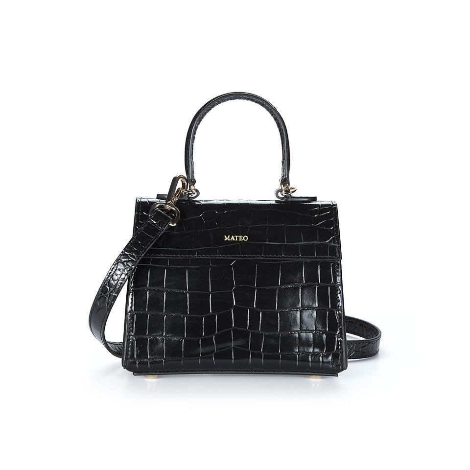 Black Croc Elizabeth Bag