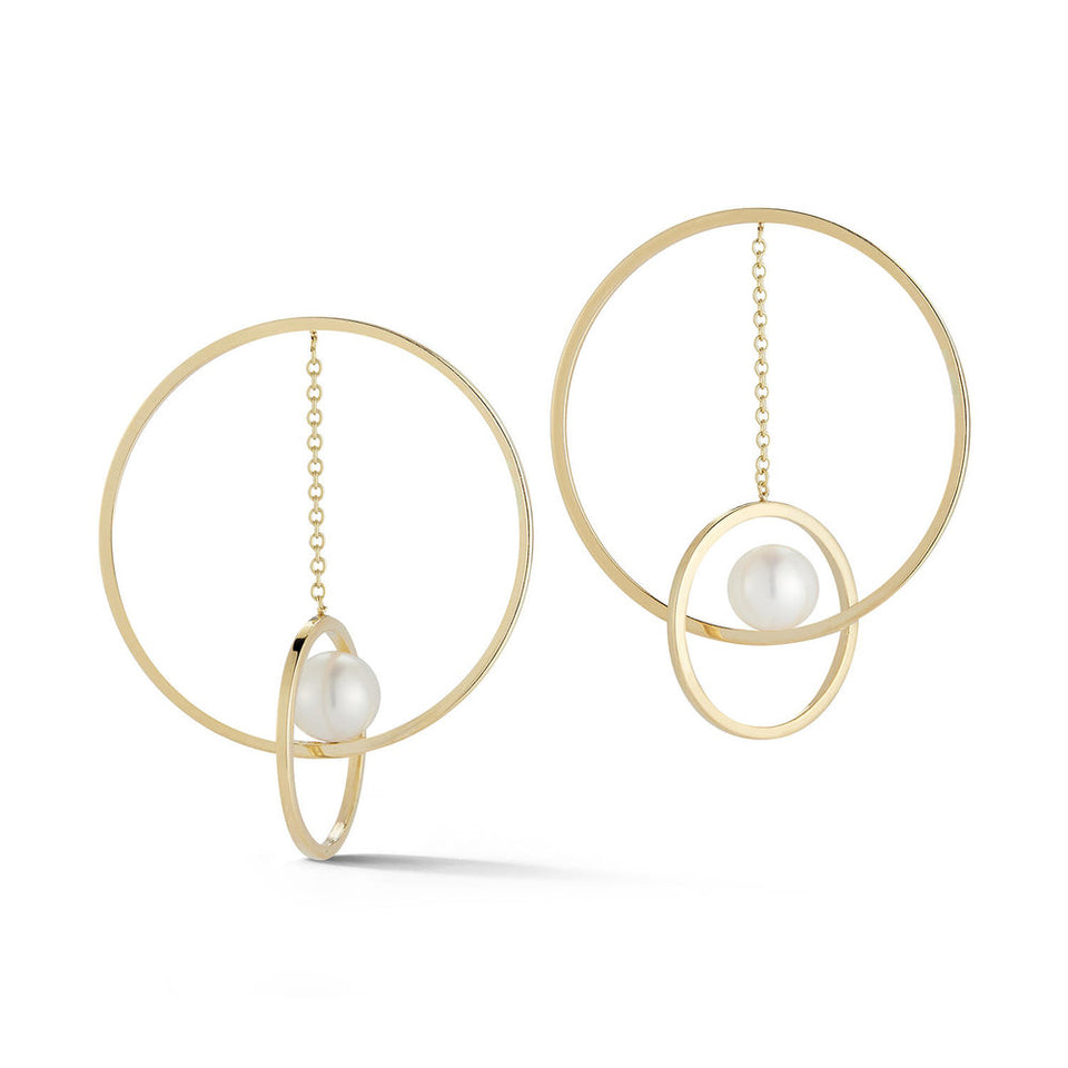 14K Gold Pearl Suspended Circ Earrings