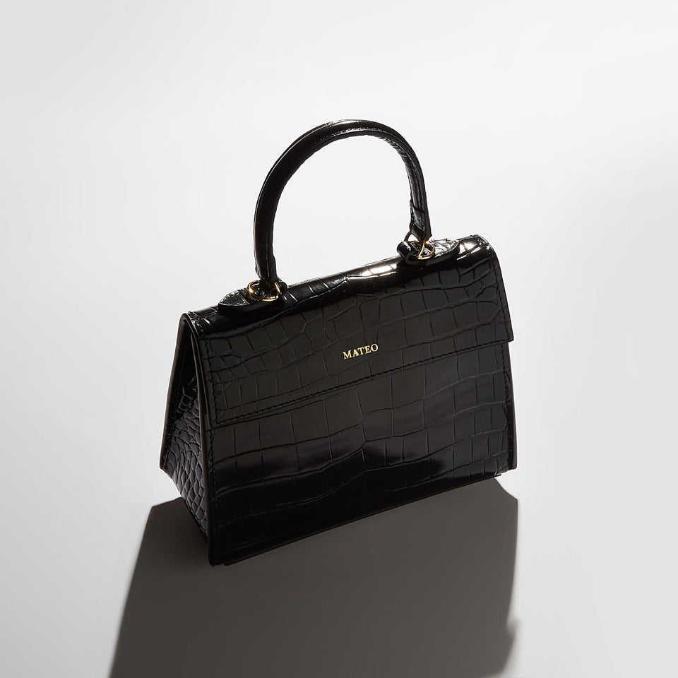 Elizabeth Bag Black Embossed Croc