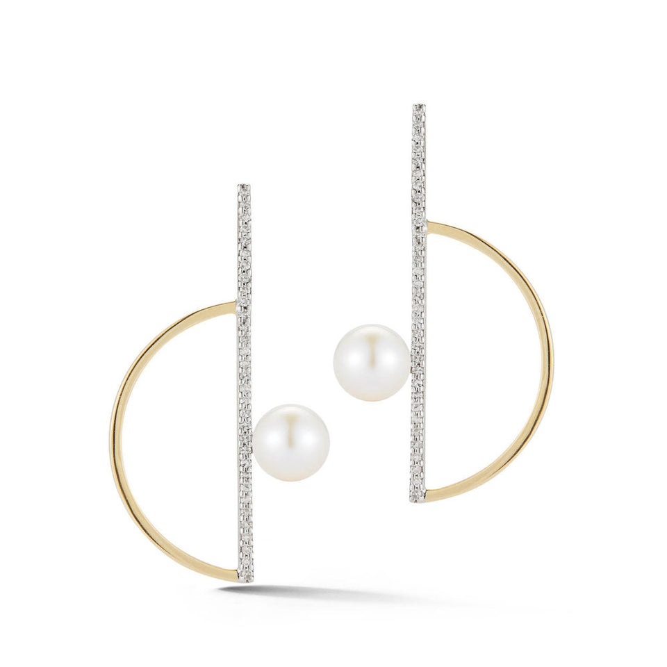 Pearl Semicircle Earring with Diamonds