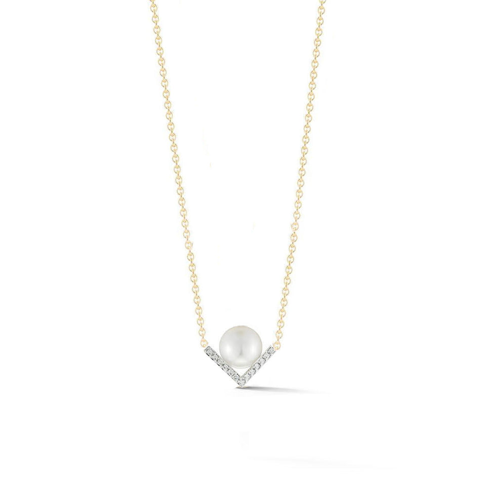 14kt Gold Right Angle Pearl Necklace