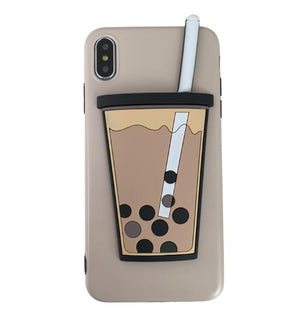 Bubble Tea Drink Bottle Pattern For iPhone 7 Plus X XR XS Max 8 6 Plus E Electronics