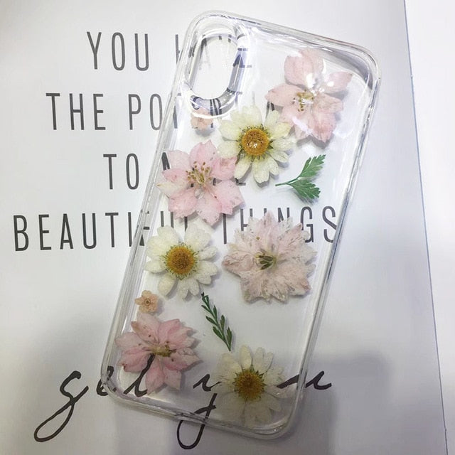 Real Pressed Dried Flowers Phone Case For iPhone XS Max XR 6 6s 7 8 Plus X E Electronics