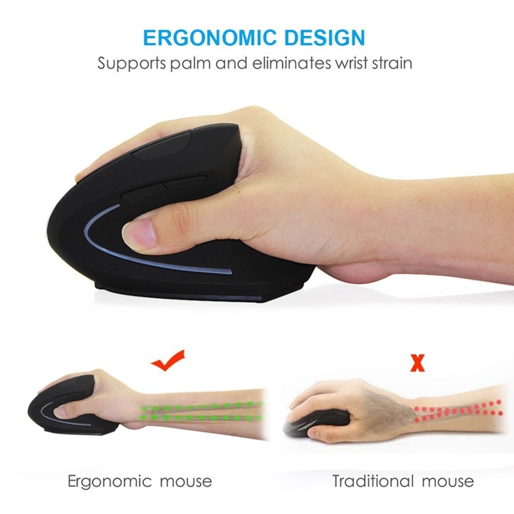 Wireless Mouse Ergonomic Optical 2.4G 800/1200/1600DPI Colorful Light Wrist Healing Vertical Mouse E Electronics