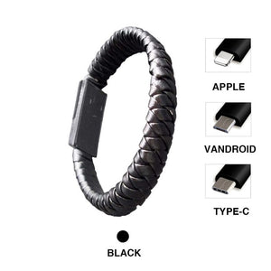 Braided USB Charging Bracelet Leather Phone Charging Cable E Electronics
