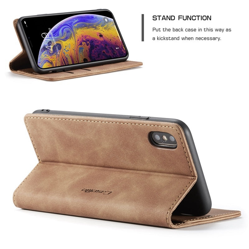 Leather Wallet Flip Case for iPhone X XR XS Max 7 6s 6 8 Plus 5 5S SE E Electronics