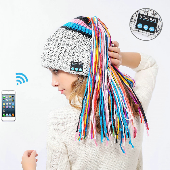Chic Winter Warm Knit Bluetooth Beanie with Wireless Headphone Headset Speakers & Mic Rechargeable Battery Hands Free for Outdoor Sport for Women Teens Girls E Electronics