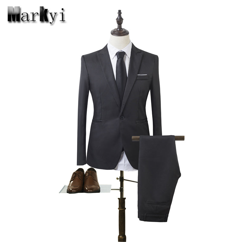 MarKyi 2017 fashion mens wedding suits  plus size 3xl singer button cheap suits for men slim fit mens tuxedo (jacket+pant)