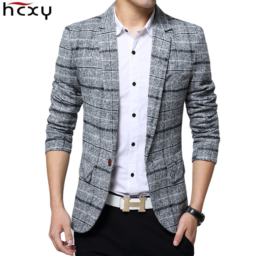 2017 New Arrival Business mens blazer Casual Blazers Men lattice Formal jacket Popular Design Men Dress Suit Jackets