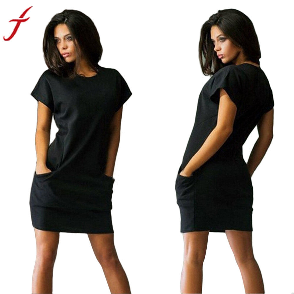 Solid Work Wear Summer Dress Fashion Short Sleeve Beach Casual Evening Party Short Mini Dress with Pockets Plus Woman Vestidos