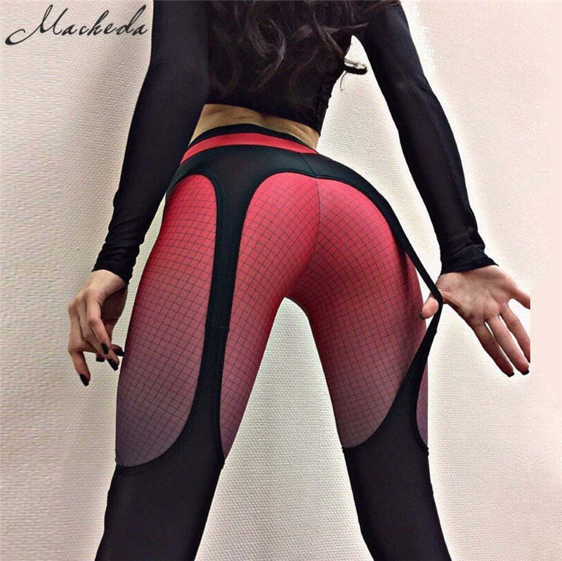 Macheda 2017 New High Waist Leggings 2Colour Mosaic Straps Printed Women Girl work out Leggings Sportswear Stretchable Pants