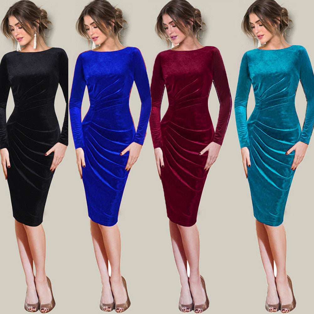 Womens Long Sleeve Velvet Ruched Slim Work Office Cocktail Party Sheath Dress