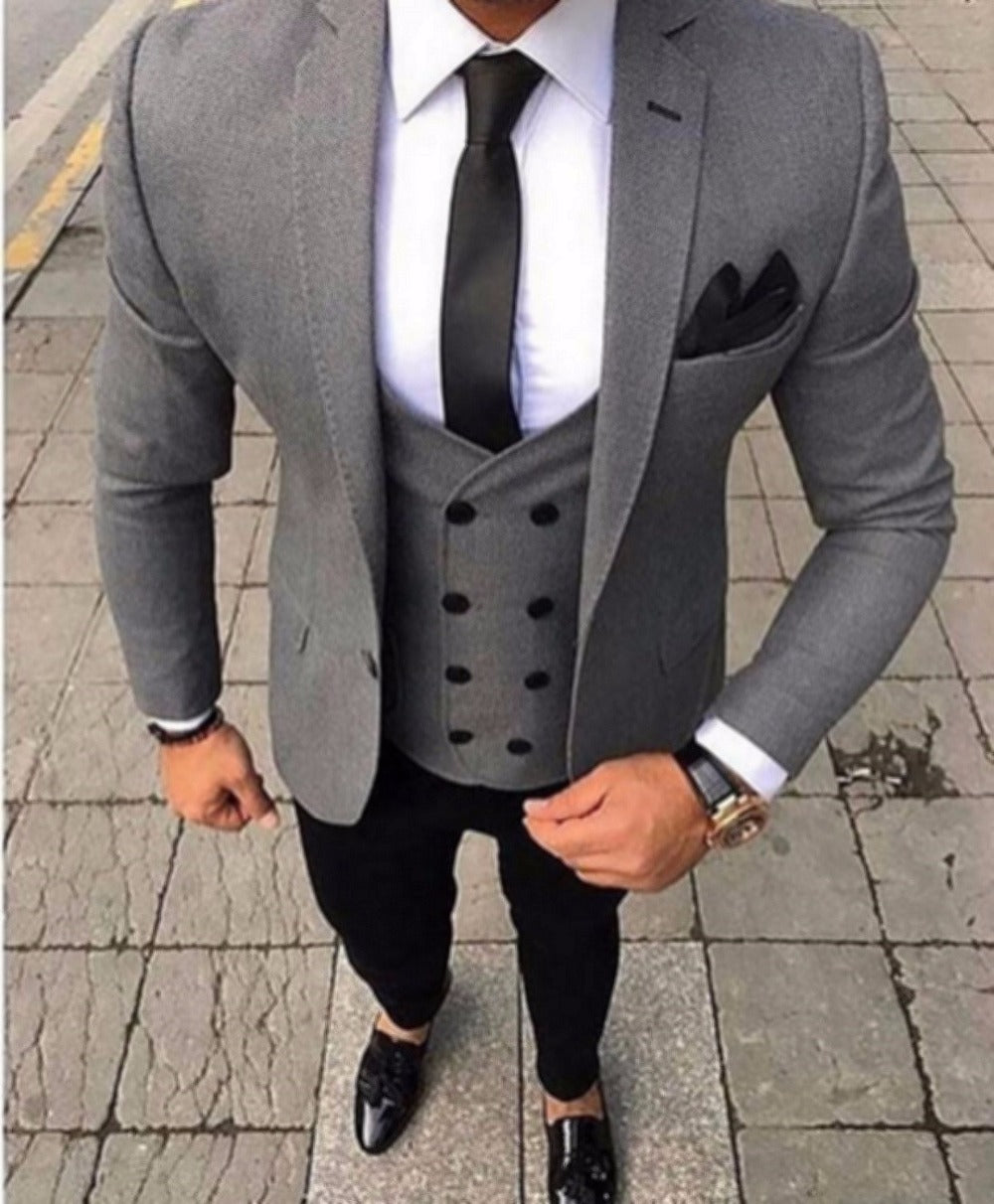 2018 Brand Tailored Smoking Grey Men Suit Slim Fit 3 Piece Tuxedo Groom Wedding Suits Jacket Custom Prom Blazer Terno Masculino