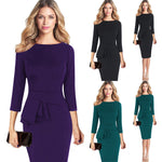 Women Elegant Frill Peplum 3/4 Gown Sleeve Work Business Party Sheath Dress