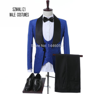 2017 Costume Homme Fashion Black White Lapel Men Dots Wedding Suit Tuxedo Groom Wedding Party Suits For Men Bridegroom Groomsmen