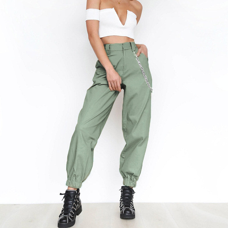 2018 Women Elegant Chain High Elastic Waist Long Harem Pants Casual Baggy Party Trousers Pockets Work Solid Loose Pantalon