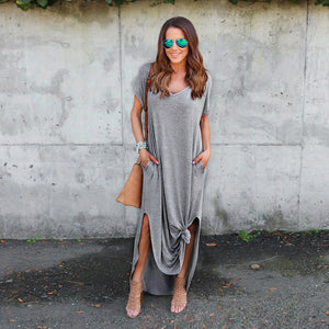 Womens  Loose Summer Beach Gallus Short Sleeves Floor-Length Long Dress