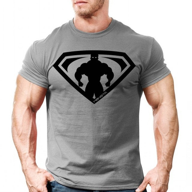 Men Short sleeve Printed t shirt Summer Gyms Fitness Bodybuilding Cotton Slim T-shirt Male Man Tee Tops Casual Fashion clothing