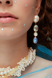 CASCADE PEARLS BLUE EARRINGS