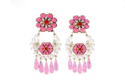CARA PEARL PINK EARRINGS