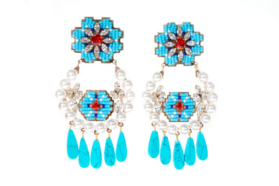 CARA PEARL TURQUOISE EARRINGS