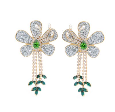FLOWER CRYSTAL GREEN EARRINGS