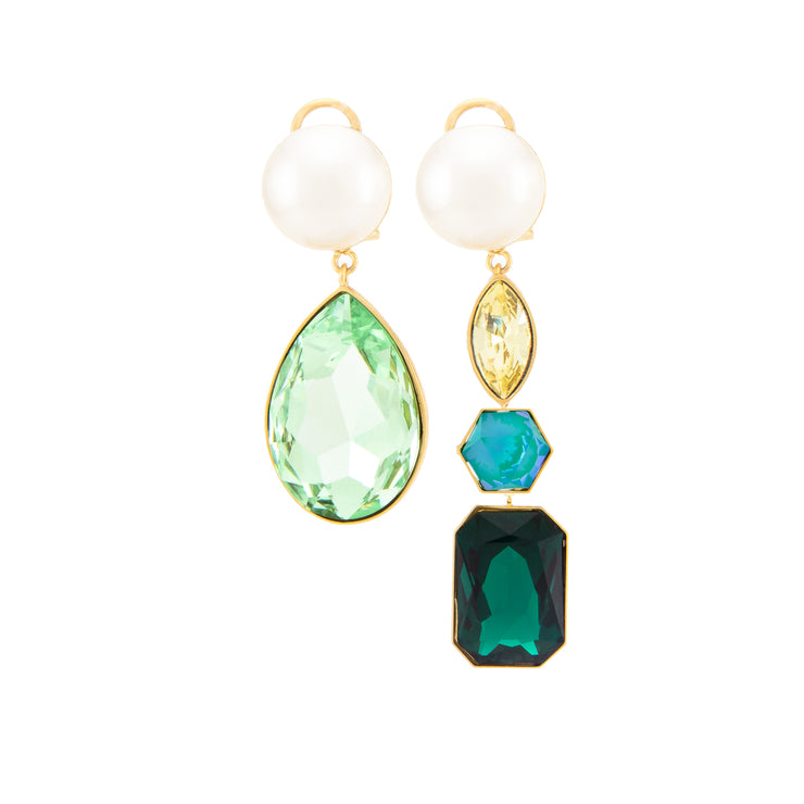 CASCADE PEARLS GREEN EARRINGS
