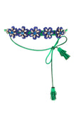 ALCANTARA FLOWER NECKLACE GREEN
