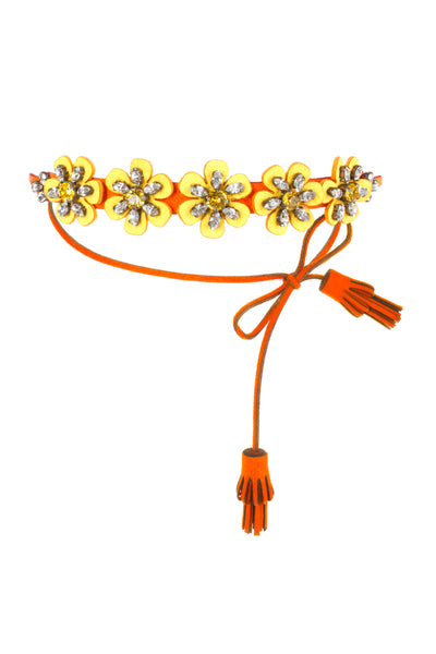 ALCANTARA FLOWER YELLOW NECKLACE
