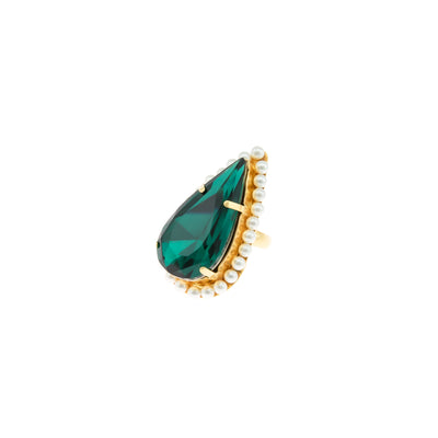 POMPADOUR DROP EMERALD RING