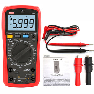 ZIBOO 890D+ 6000-count true RMS digital multimeters are designed with large LCD display.