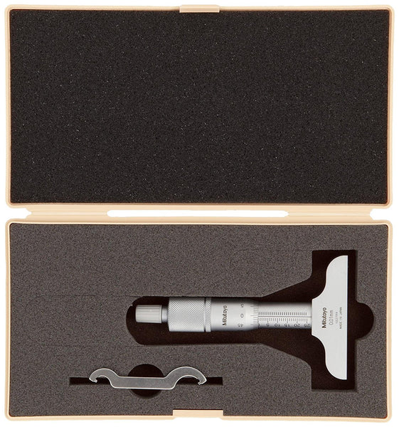 Mitutoyo 128-101 Vernier Depth Gauge, Micrometer Type, 0-25mm Range, 0.01mm