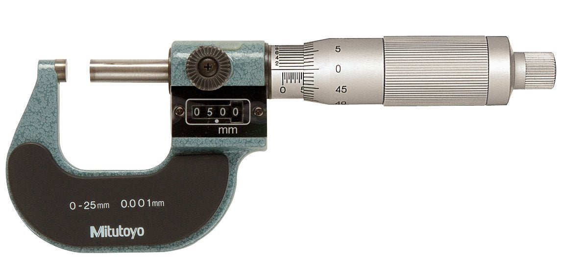 Mitutoyo 193-113 Digit Outside Micrometer, Ratchet Stop, 50-75mmx 0.001