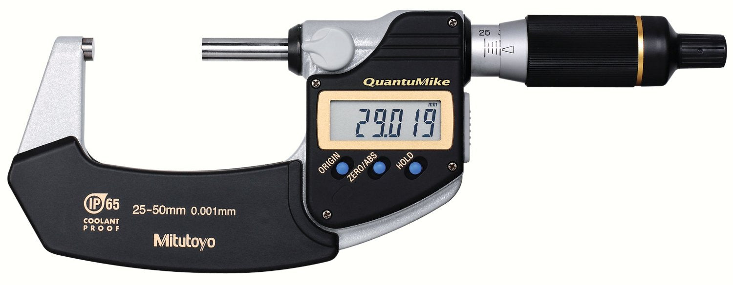 Mitutoyo 293-141 QuantuMike Coolant Proof LCD Micrometer, IP65, Ratchet Thimble