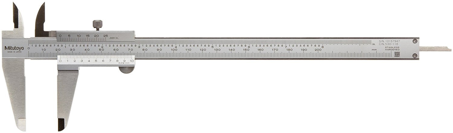 Mitutoyo 530-118 Vernier Caliper Dual Scale Inch/Metric 0-200mm/0-8in 0.02mm
