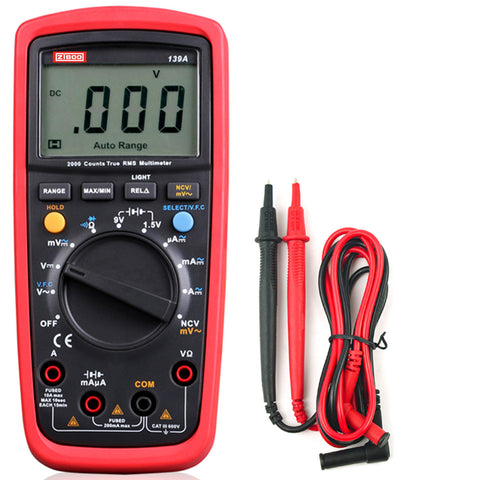 ZIBOO 139A True RMS Digital Multimeter  MAX/MIN/REL Modes Data Hold, LED Backlight, Auto Power Off