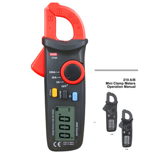 ZIBOO 210A Mini Clamp Meter AC DC Voltage AC Amp Ohm Tester Meter