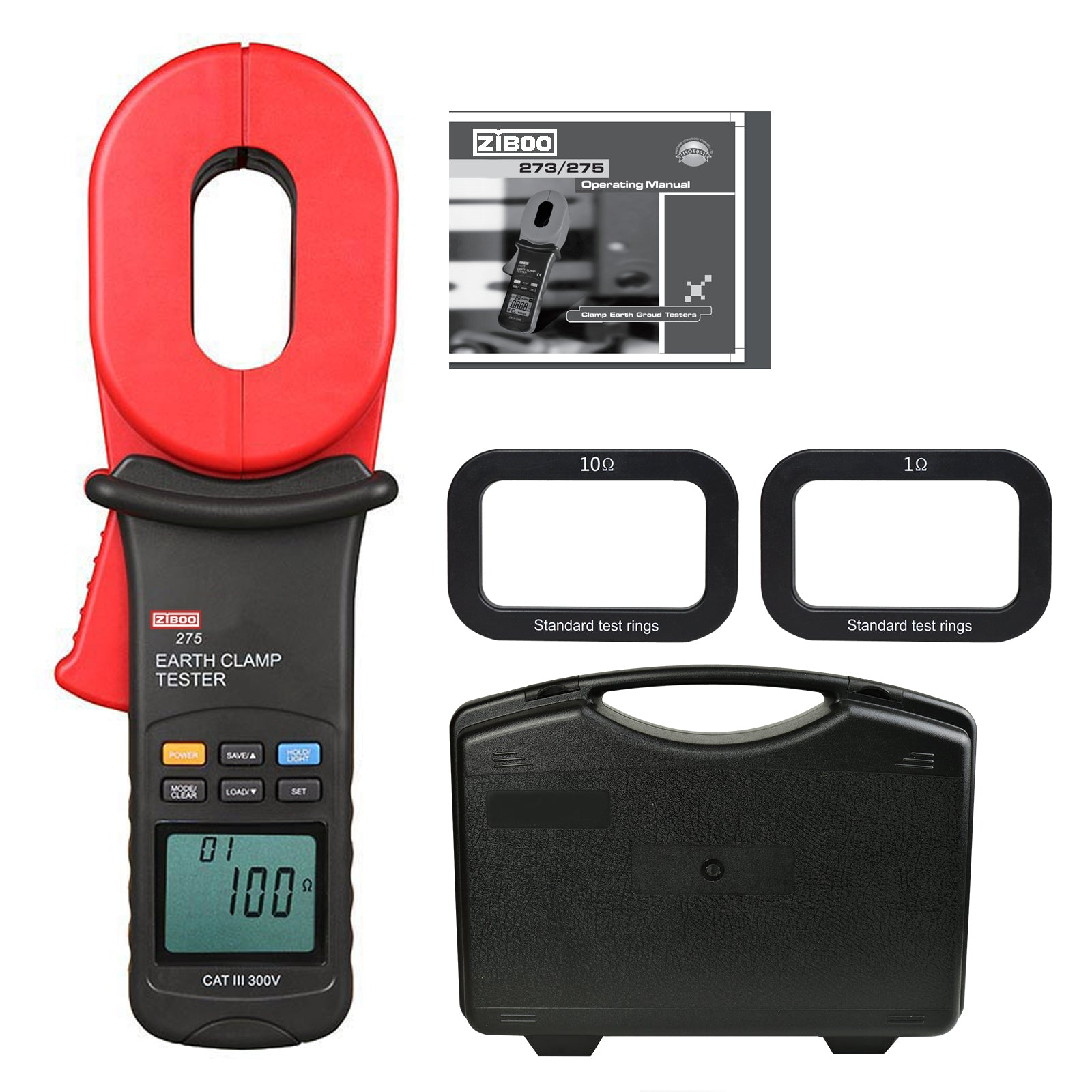 "ZIBOO ZB-275 Auto Earth Ground Resistance Clamp Meter 2.2"" LCD Range 0.01~ 100"