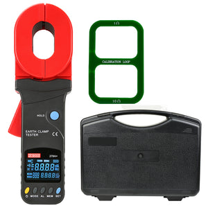 ZIBOO ZB-278A+ Clamp Earth Tester Resistance Data Storage Visual/Audible Alarm