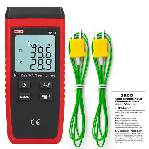 ZIBOO ZB-320D Mini Contact Type Thermometer LCD Backlight K/J Thermocouple