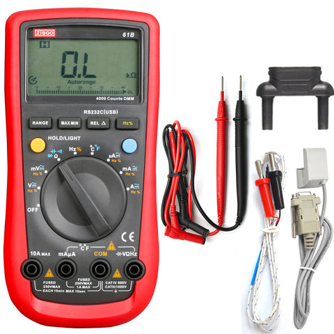 ZIBOO 61B Modern Digital Multimeter Auto power off LCD backlight  Auto range MAX/MIN/REL mode