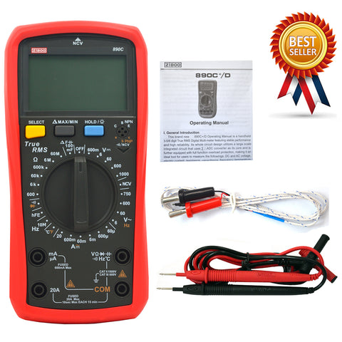 ZIBOO 890C Digital True RMS Handheld Multimeter AC/DC Frequency Teste