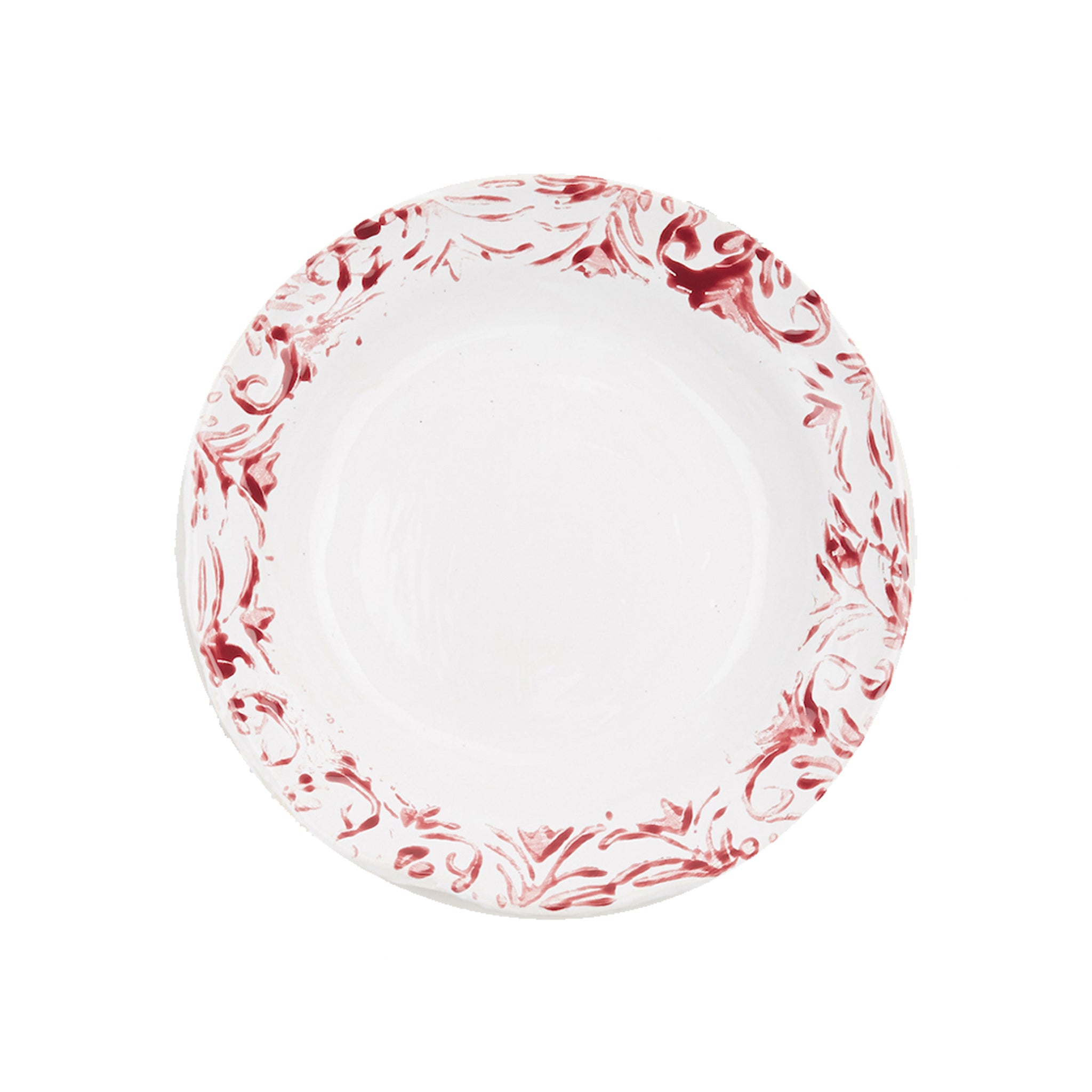 """Floral"" Dessert Plate Red"